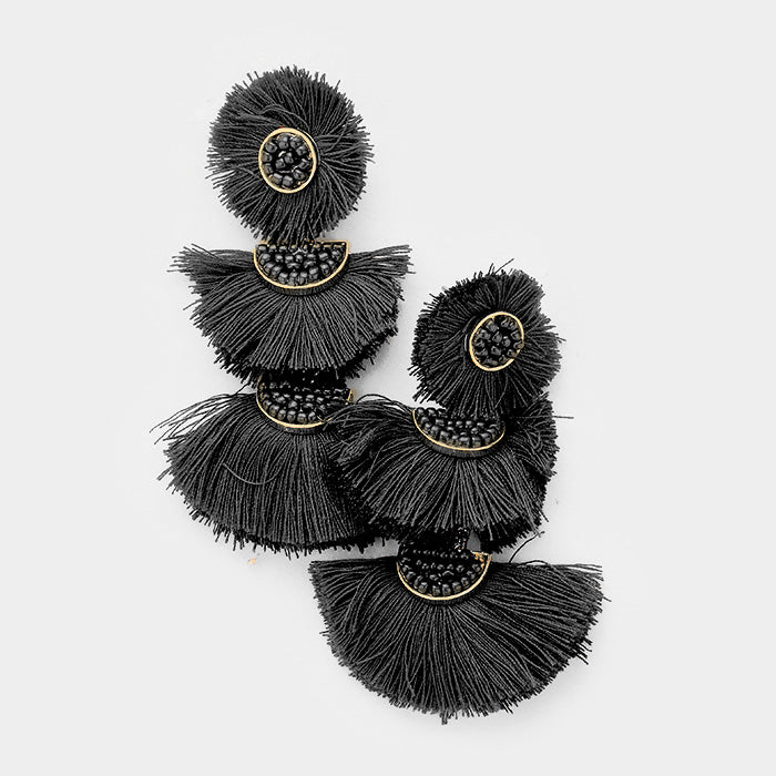 Austin Triple Fan Tassel Black