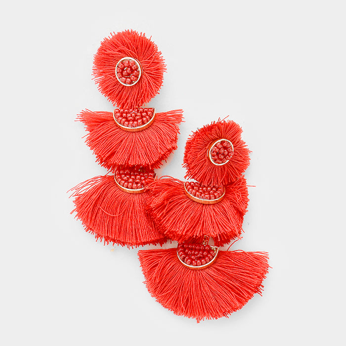 Austin Triple Fan Tassel Red