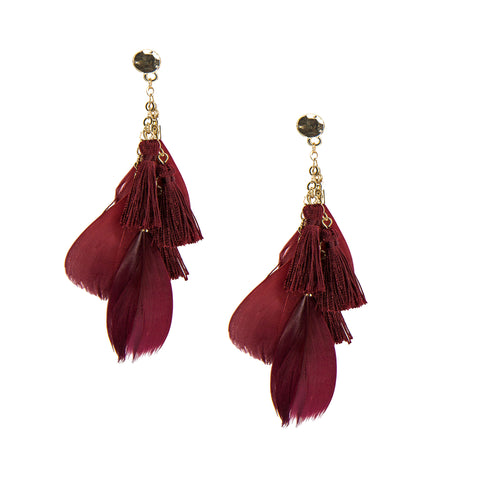 red feather drop earrings