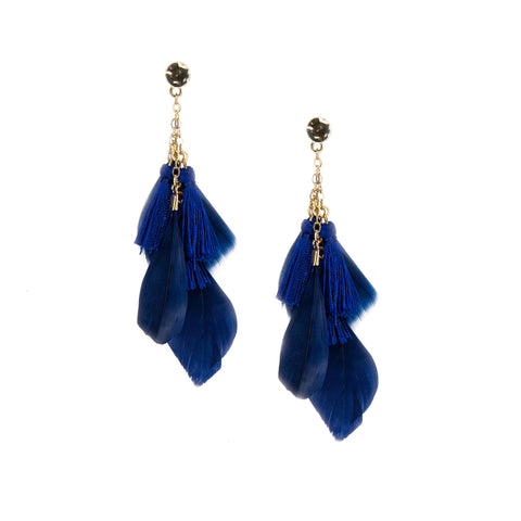 Savannah Peacock Feather Drop Earrings