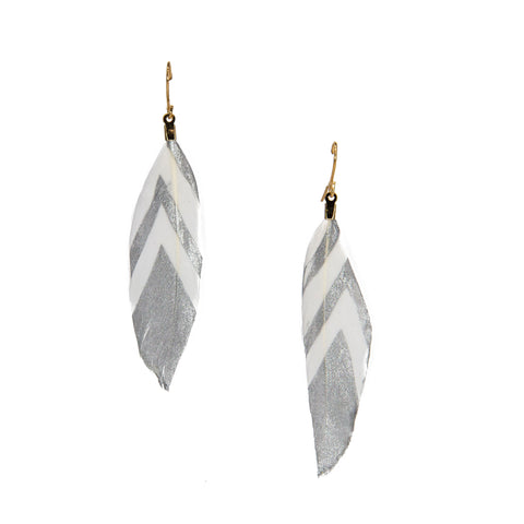 Sienna Silver Dipped Feather Earrings