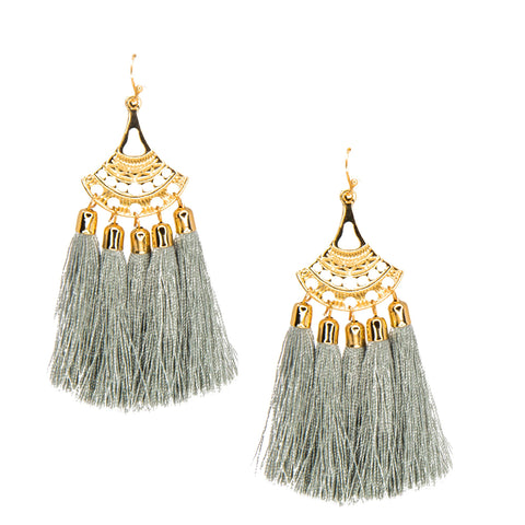 grey chandelier tassel earrings