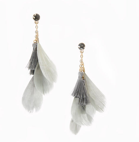 grey feather drop earrings
