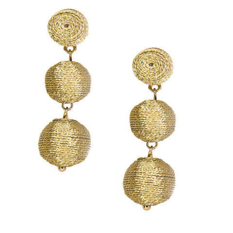 gold mini cascading ball earrings
