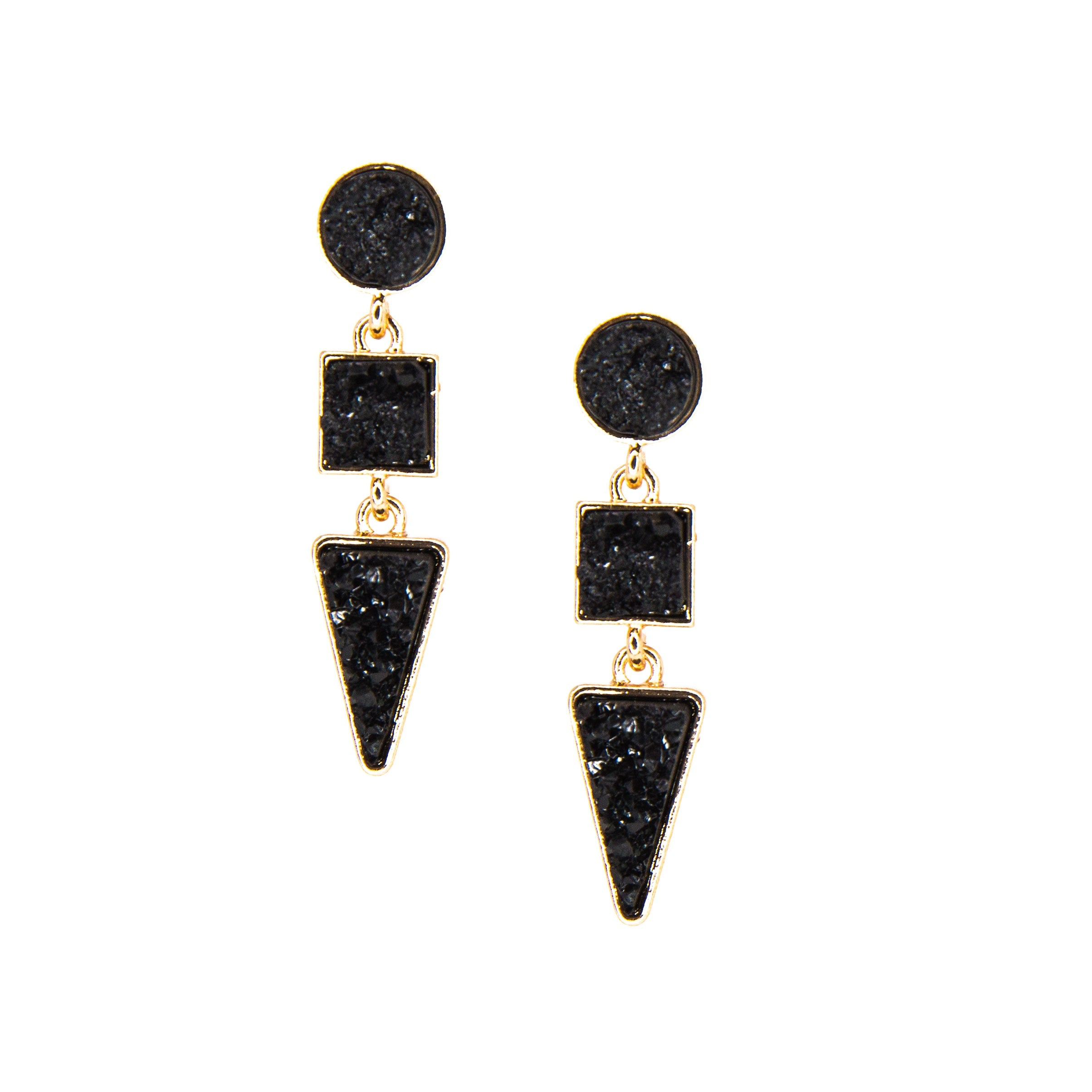 black and gold triple drop earrings