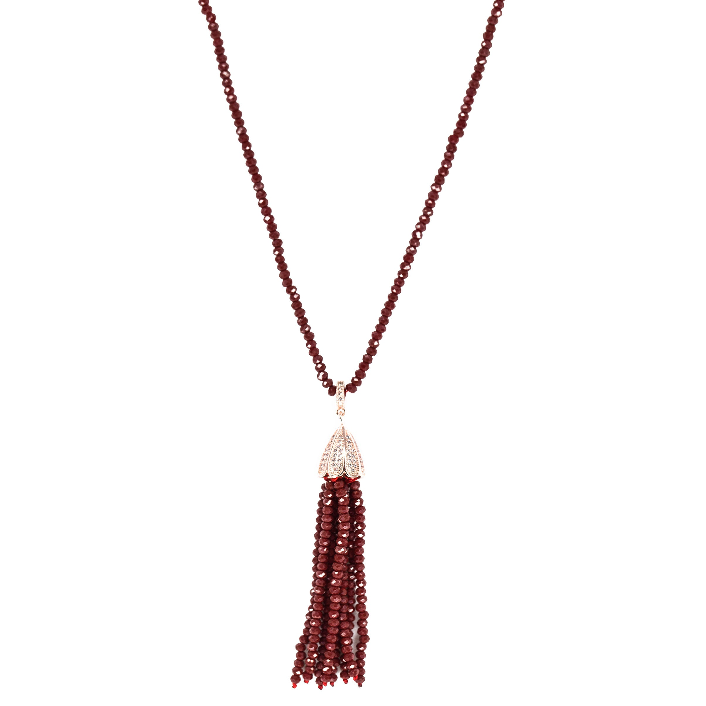red beaded tassel necklace