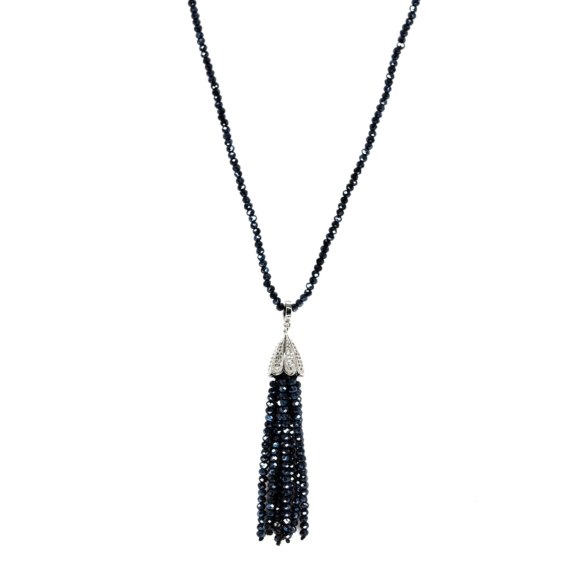 blue beaded tassel necklace