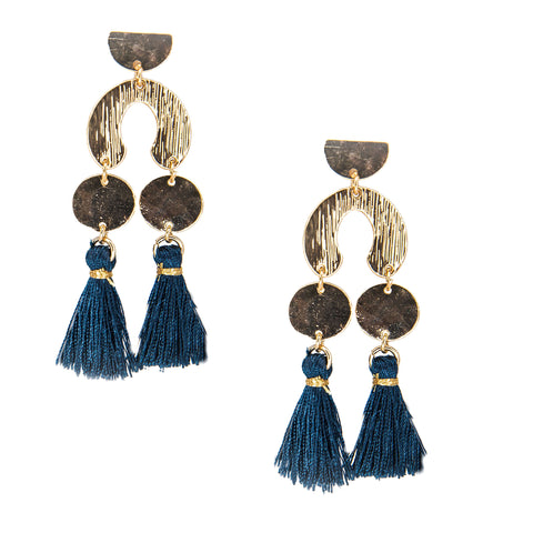 blue geometric double tassel earrings