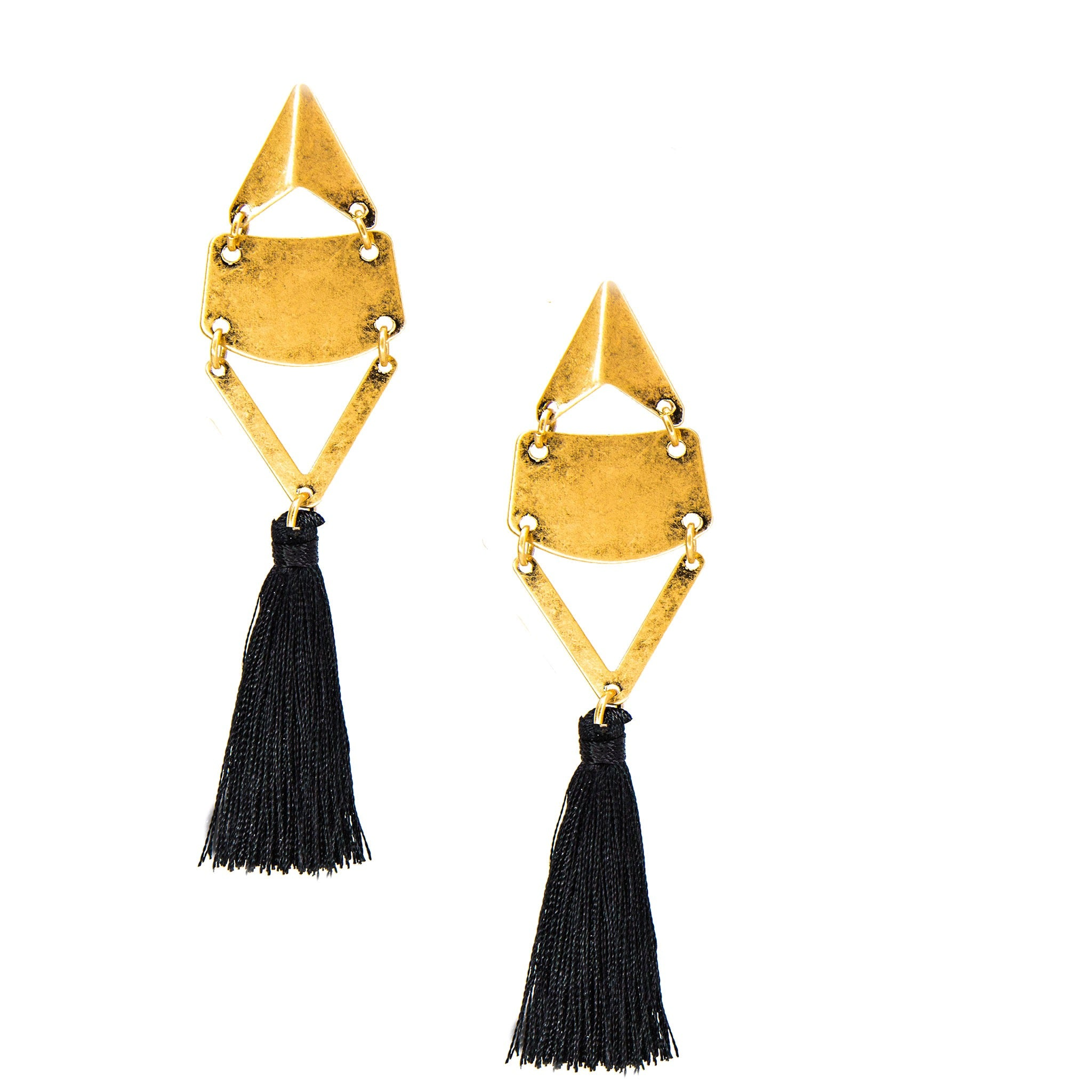 black retro tassel earrings