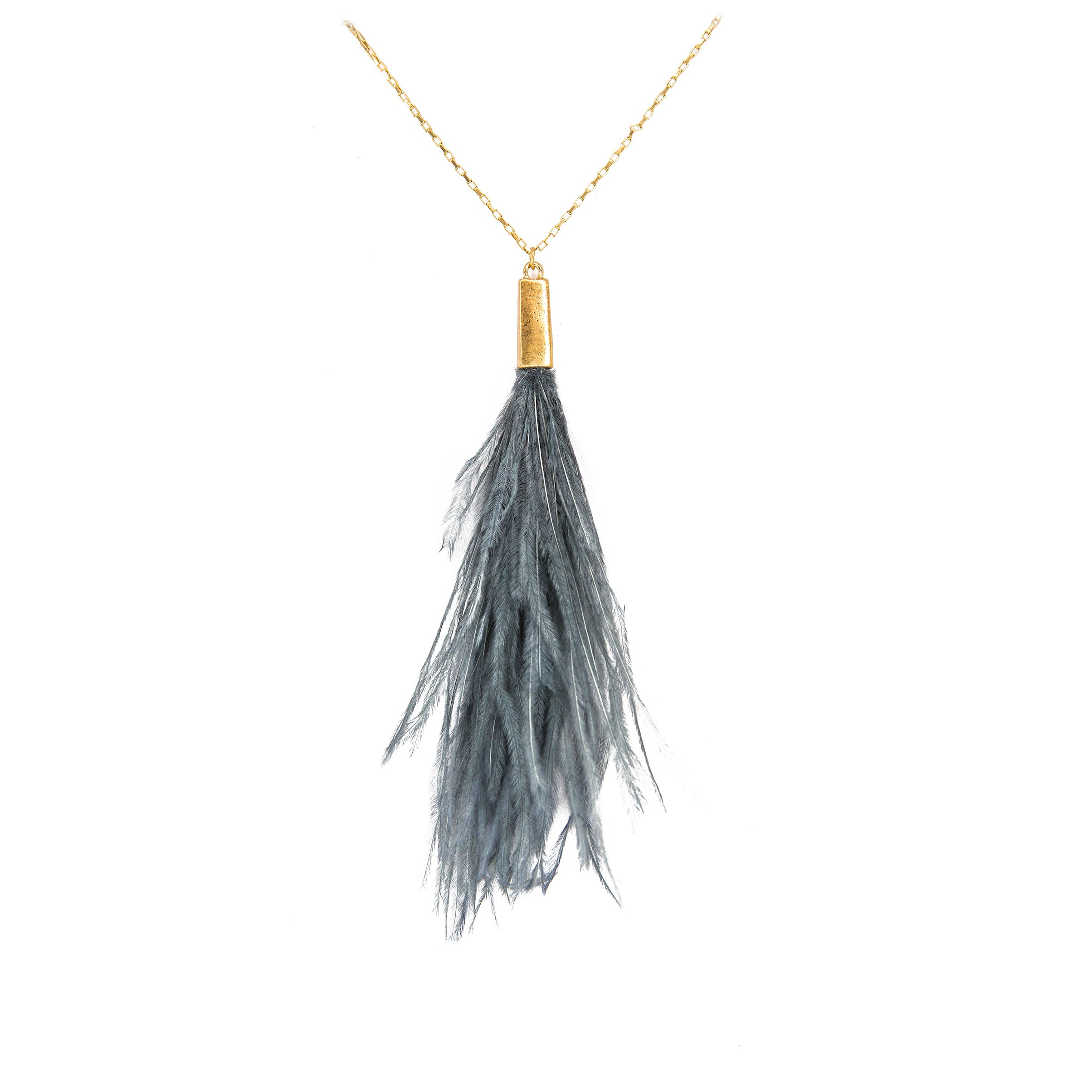 grey peacock feather necklace
