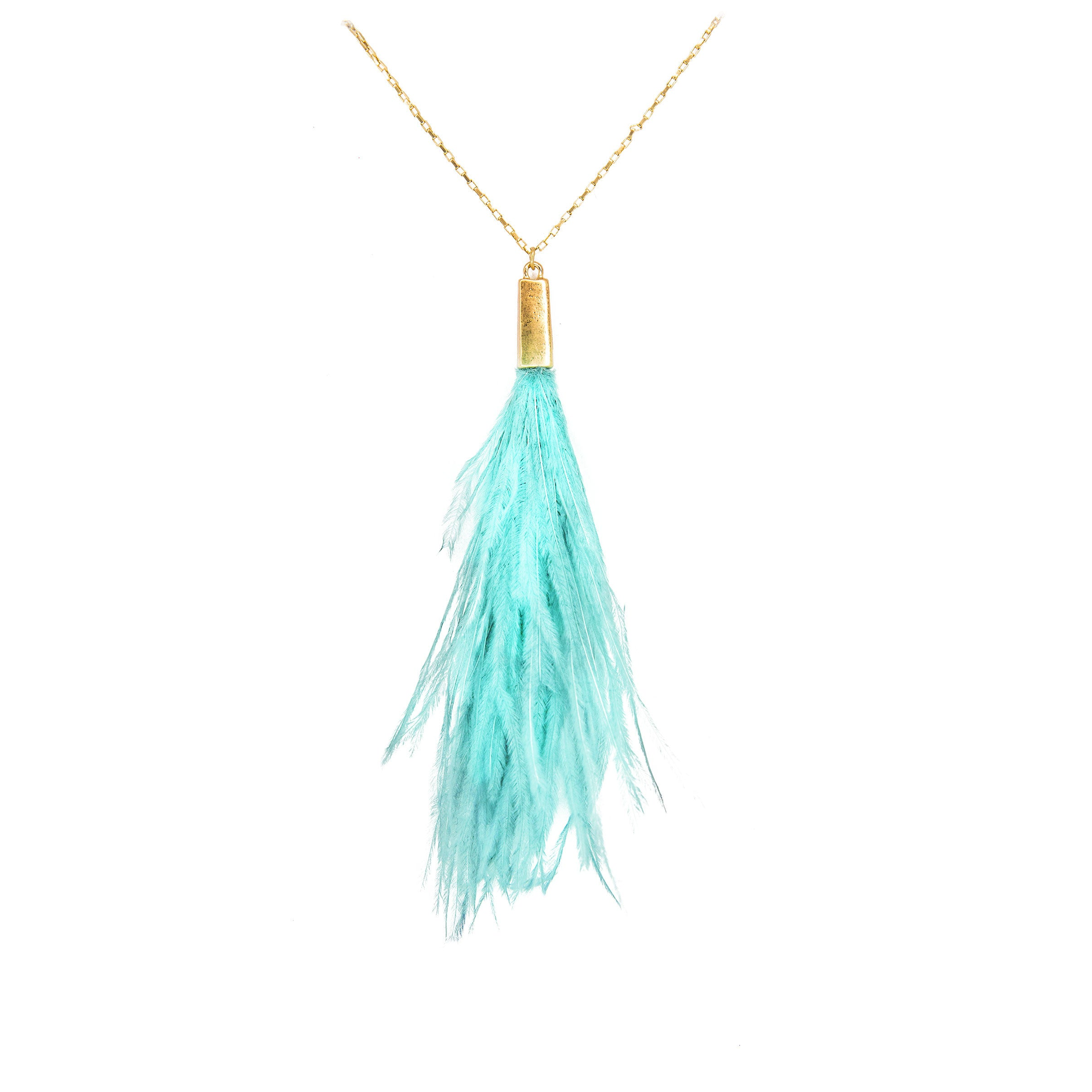 mint peacock feather necklace