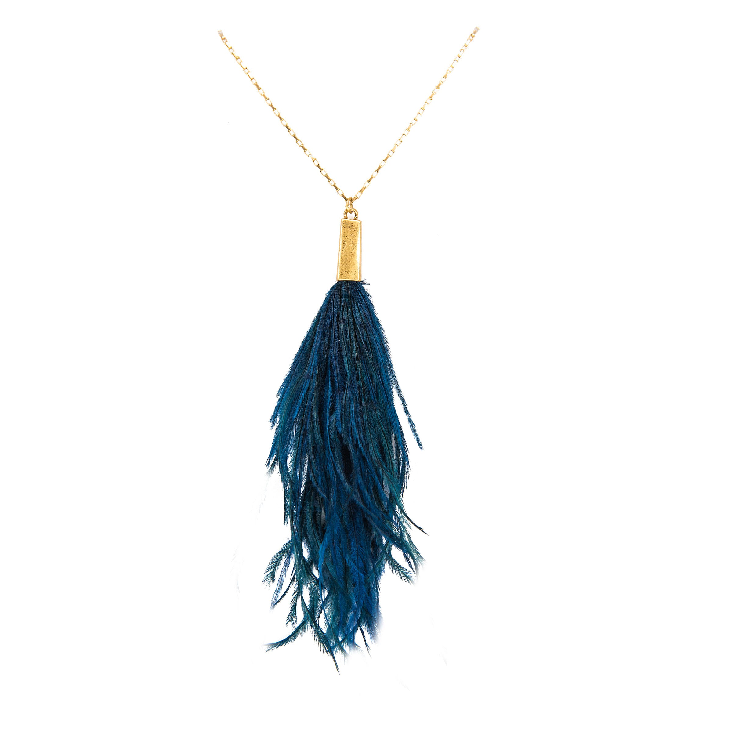 blue peacock feather necklace