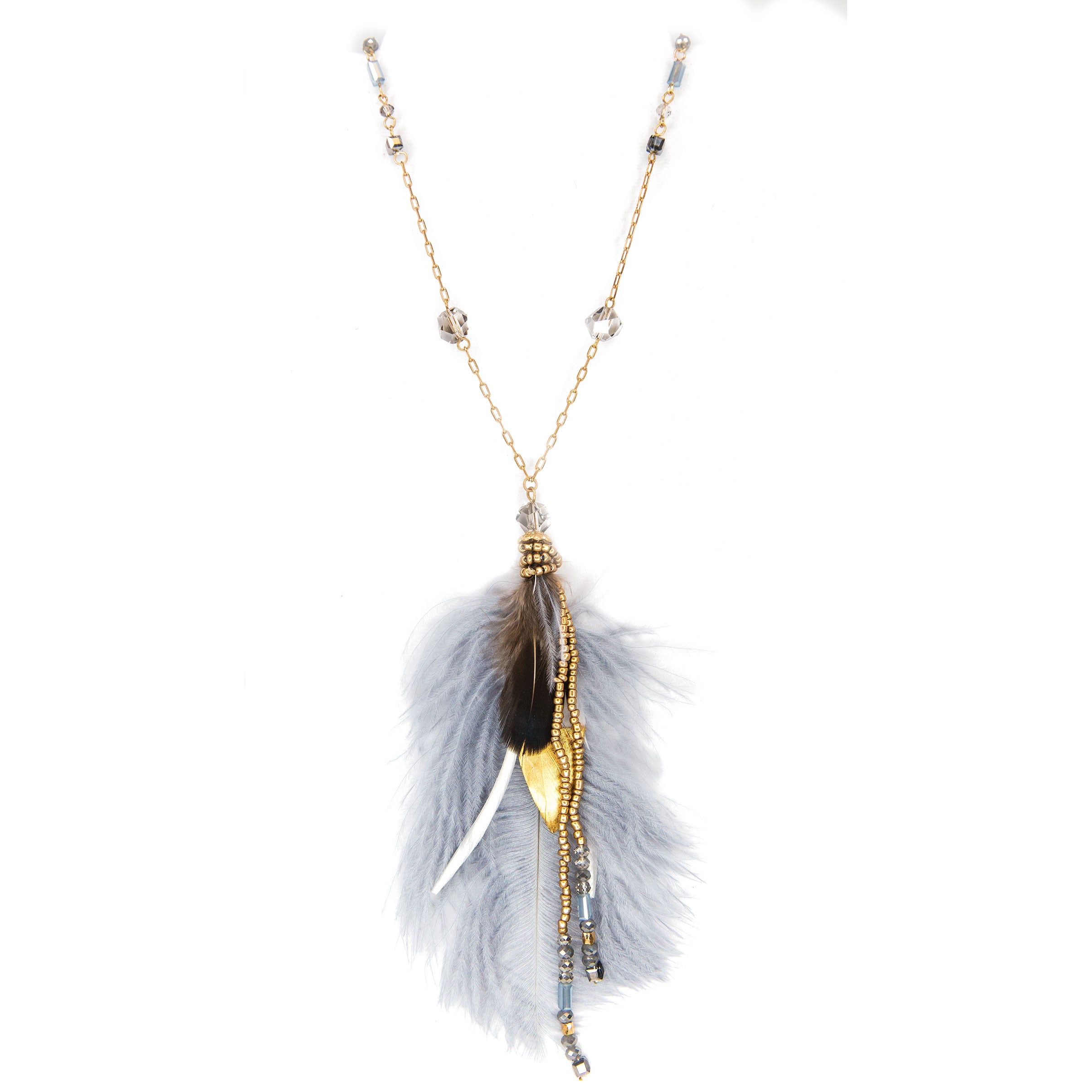 long beaded necklace with grey feather