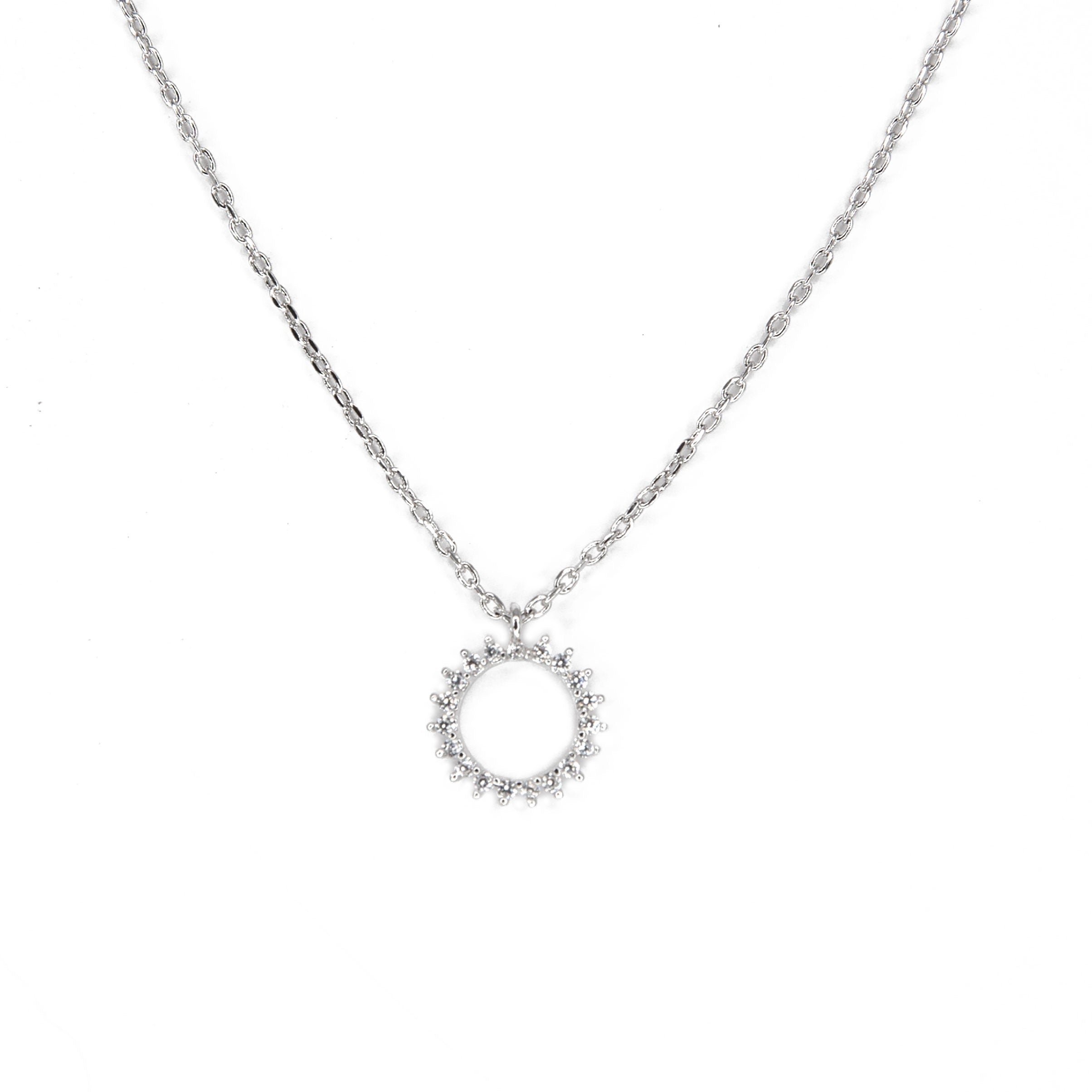 sterling silver open circle necklace