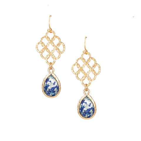 small gold chandelier earrings with blue stone