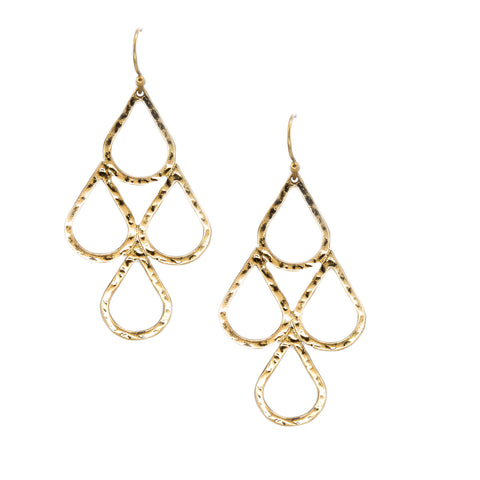 gold teardrop chandelier earrings