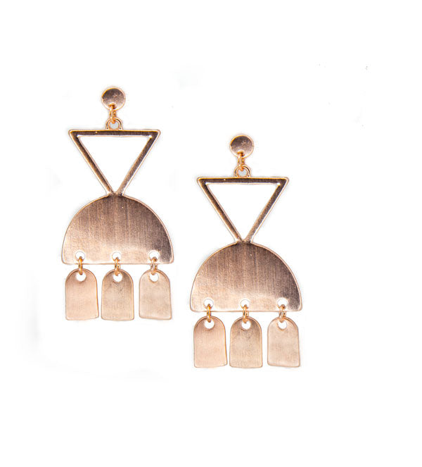 rose gold geometric metal chandelier earrings