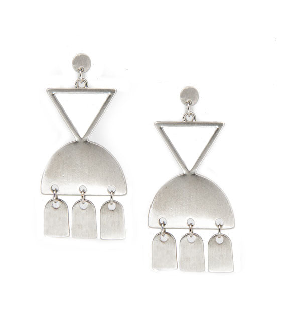 silver geometric metal chandelier earrings