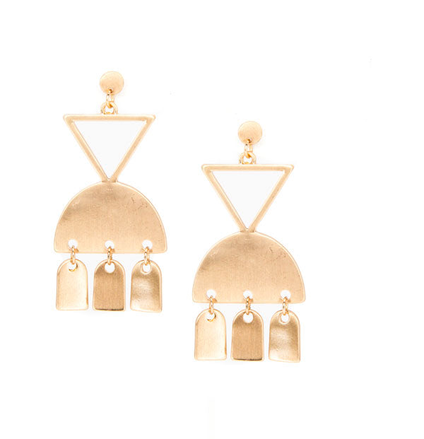 gold geometric metal chandelier earrings