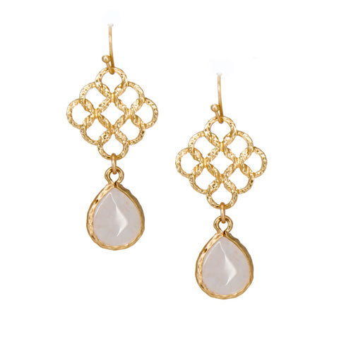 small gold chandelier earrings with light pink stone