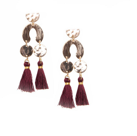 red geometric double tassel earrings