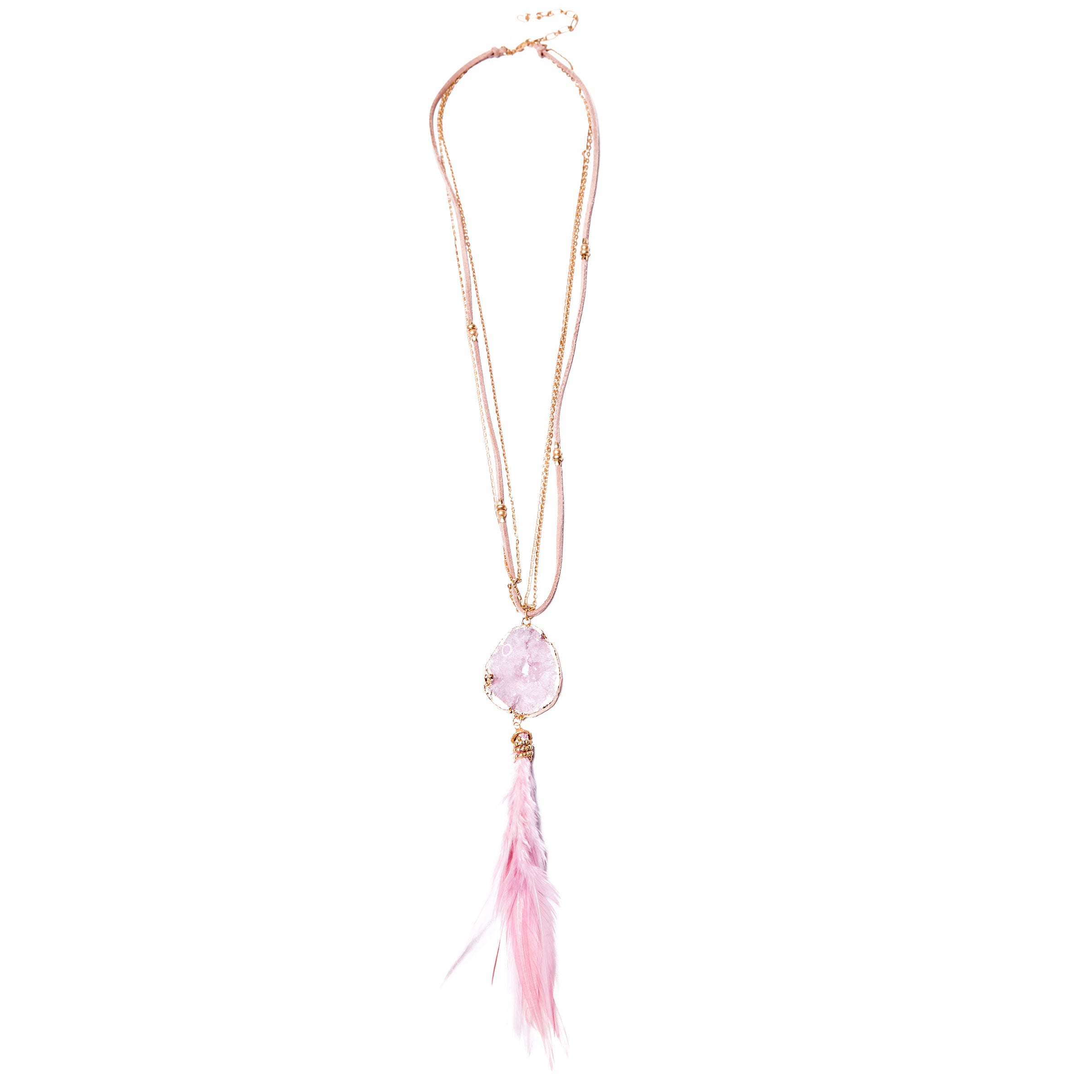 long pink feather quartz necklace