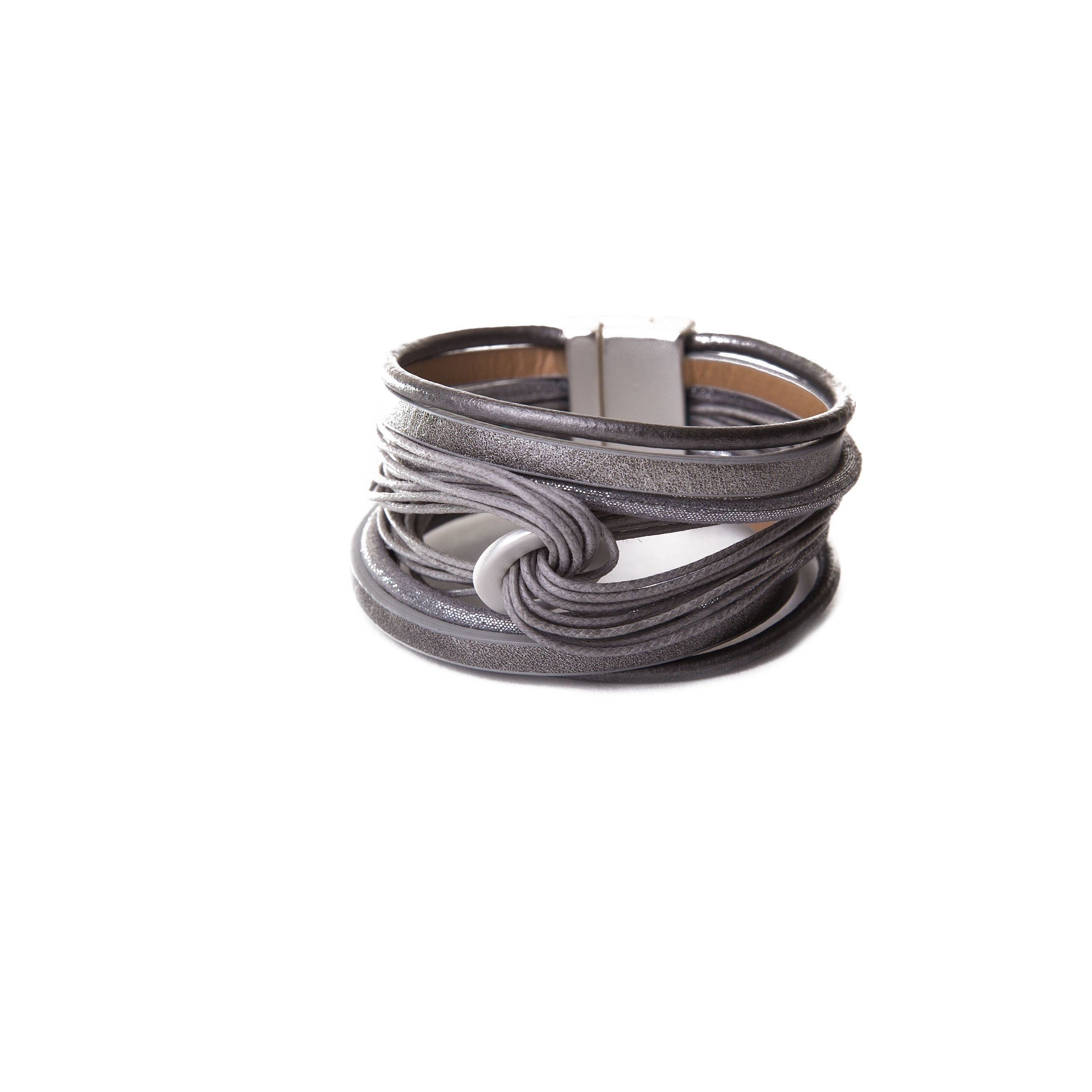 grey stacked leather bracelet cuff