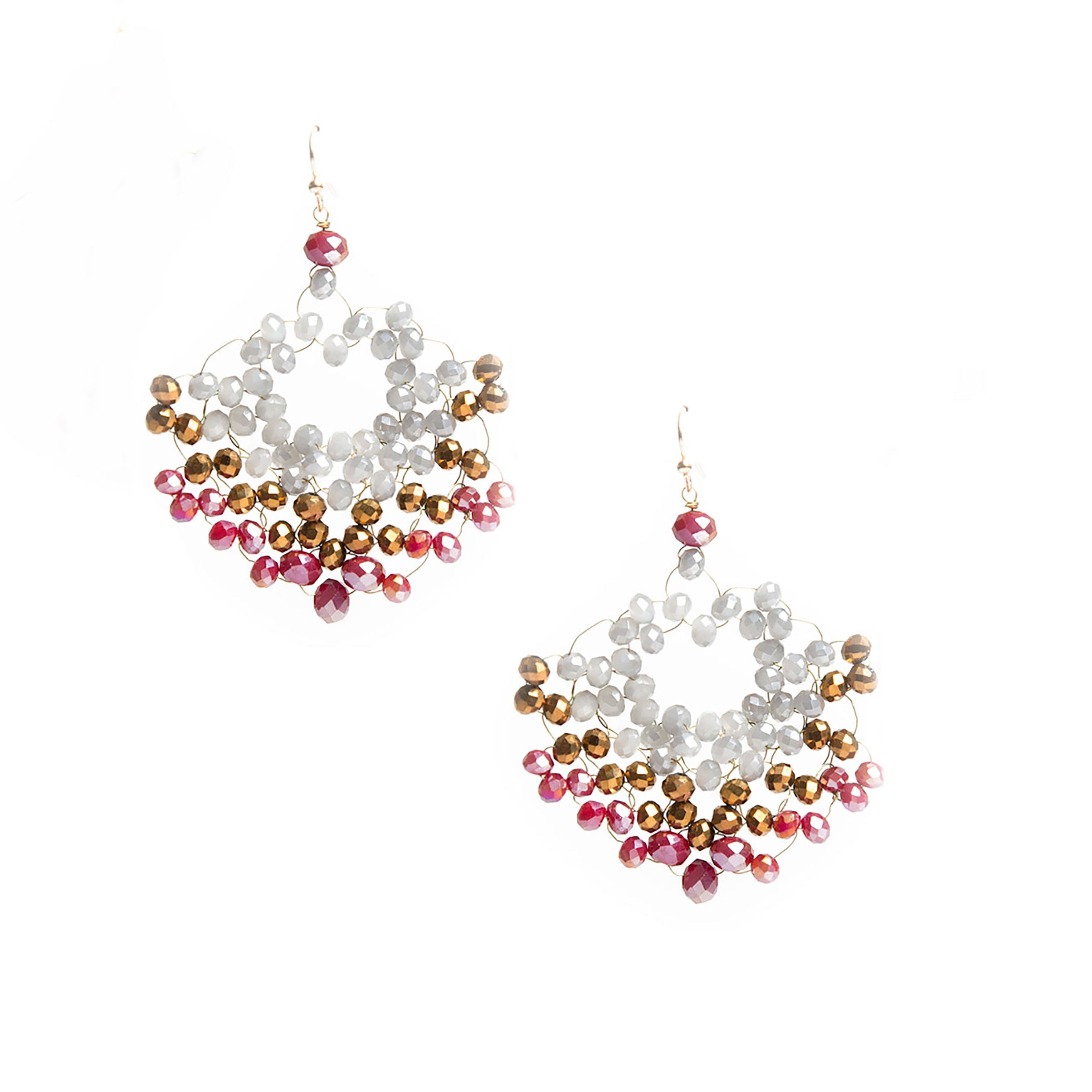 raspberry hand beaded chandelier earrings