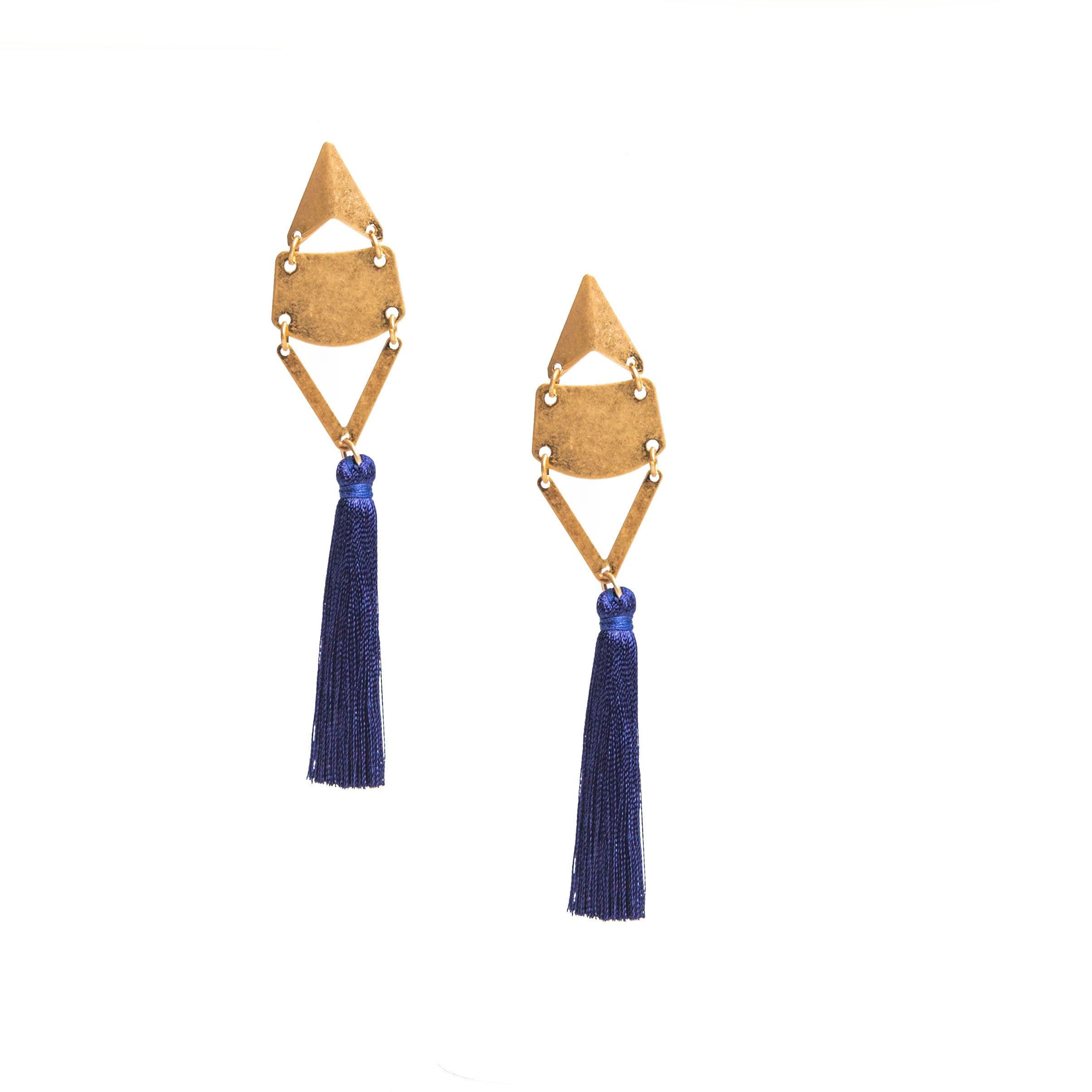 blue retro tassel earrings