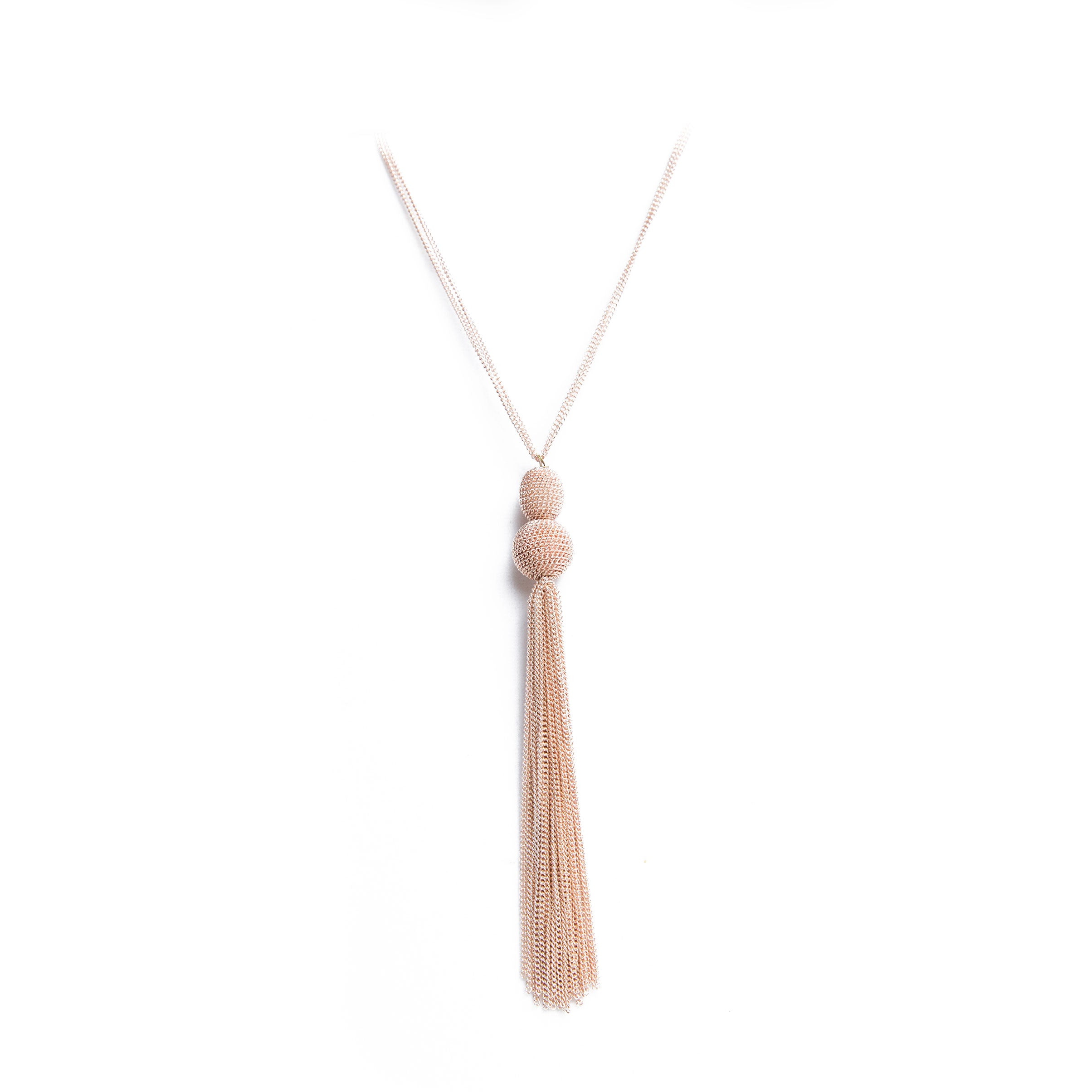 rose gold cascading tassel necklace
