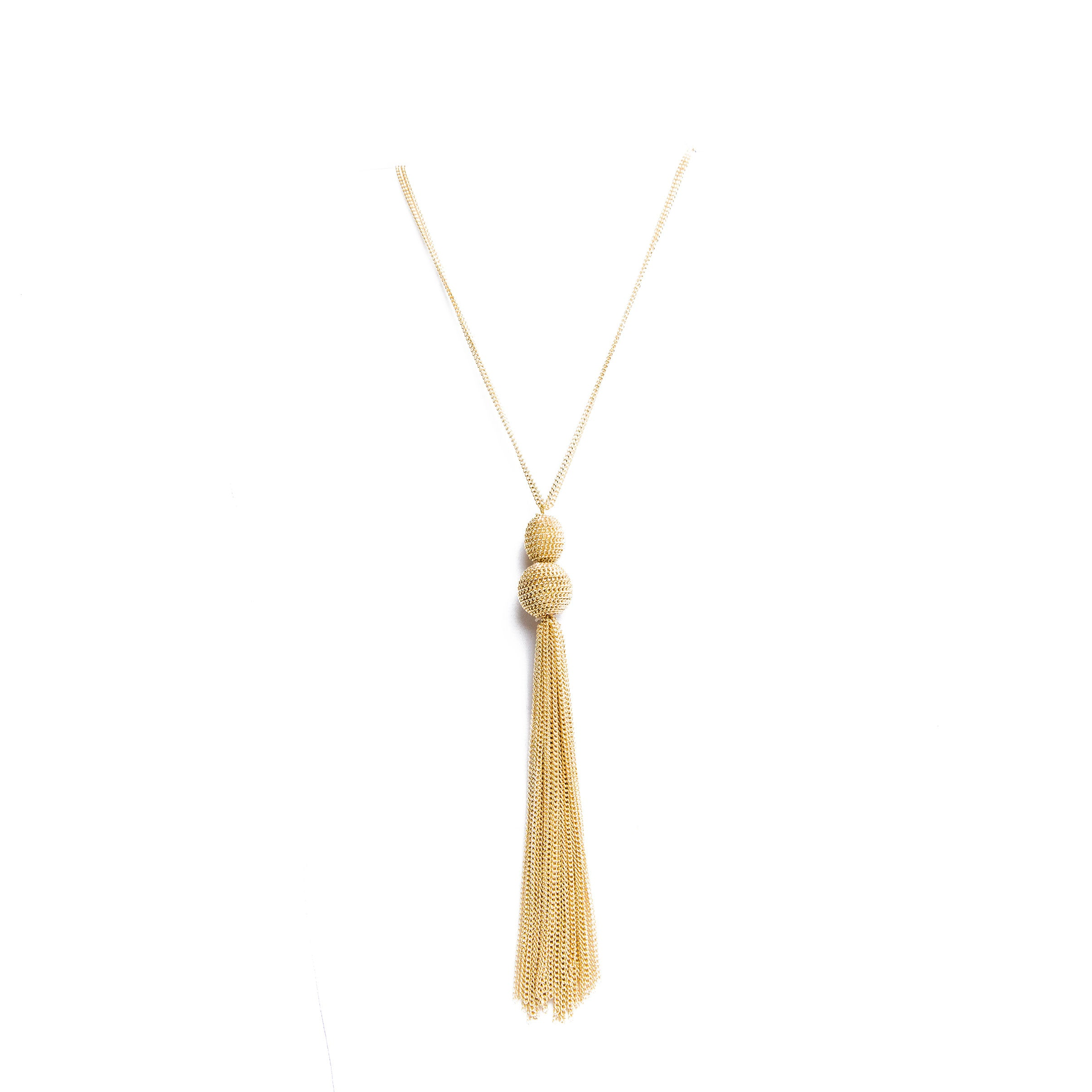 gold cascading tassel necklace