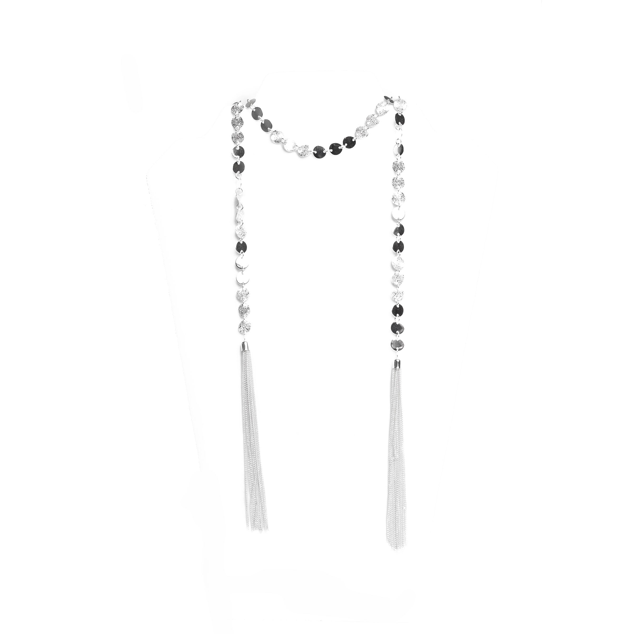 silver wrap lariat necklace
