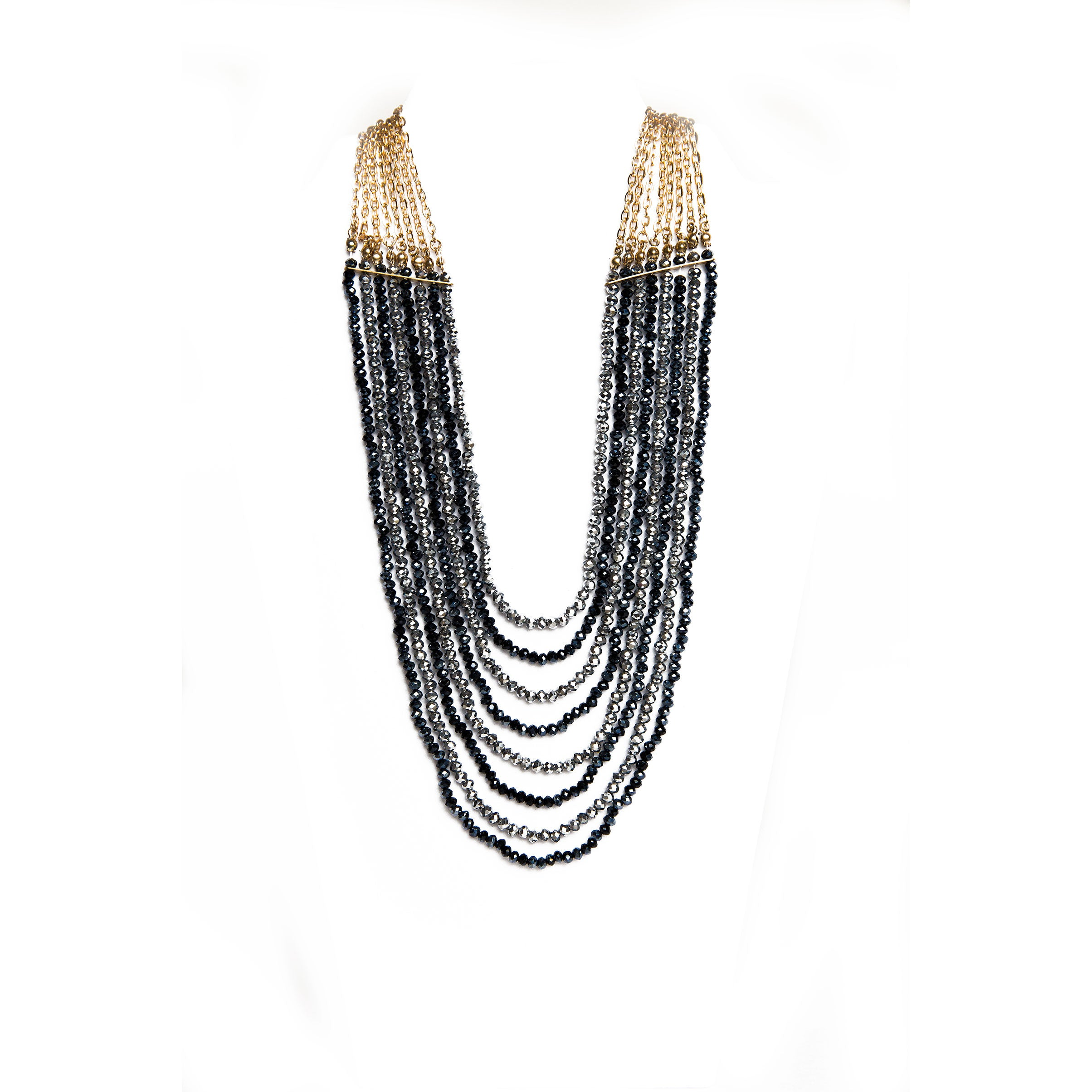 black multi stand beaded necklace