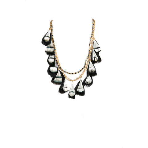 black and white feathered layered necklace