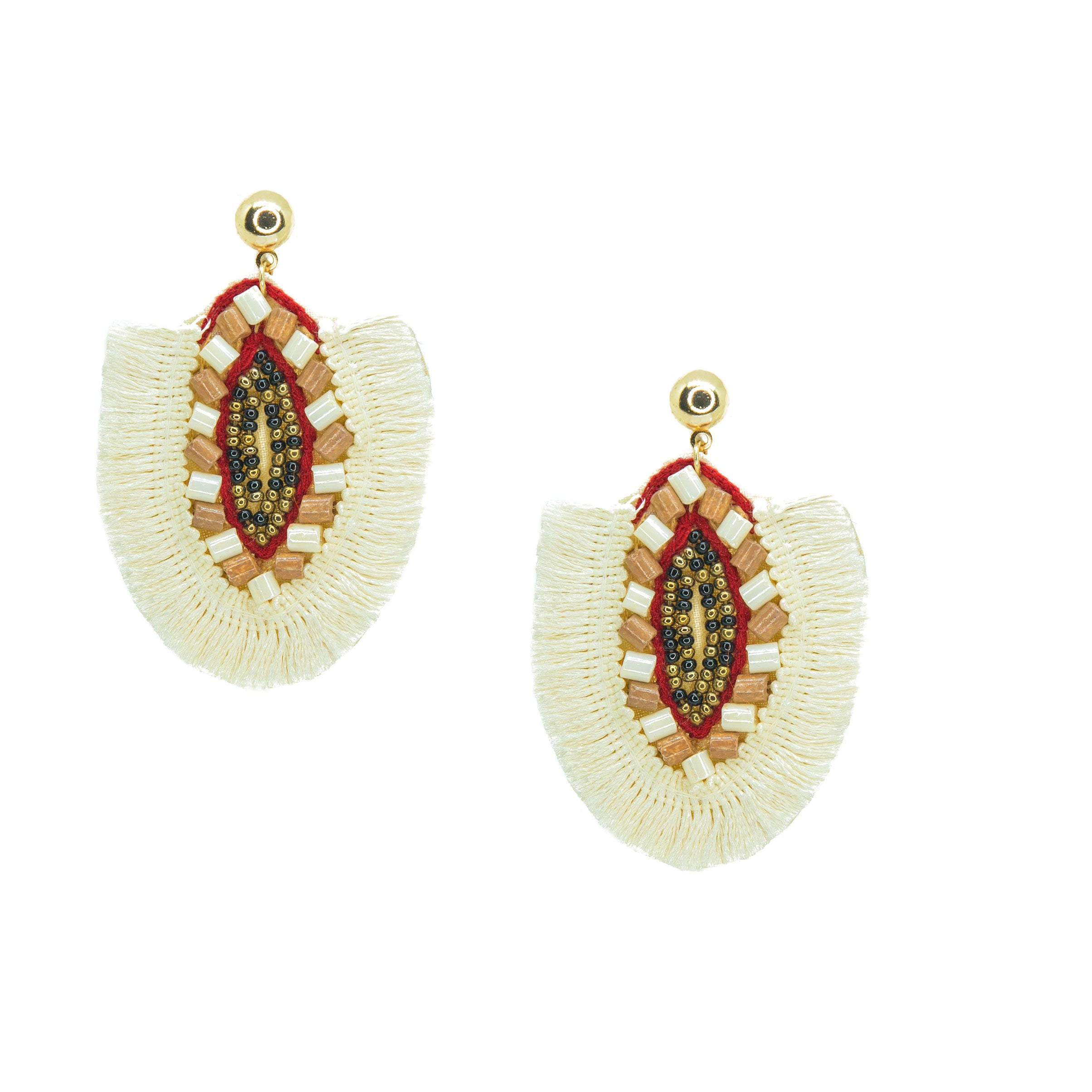 beaded fan shaped boho chic earrings