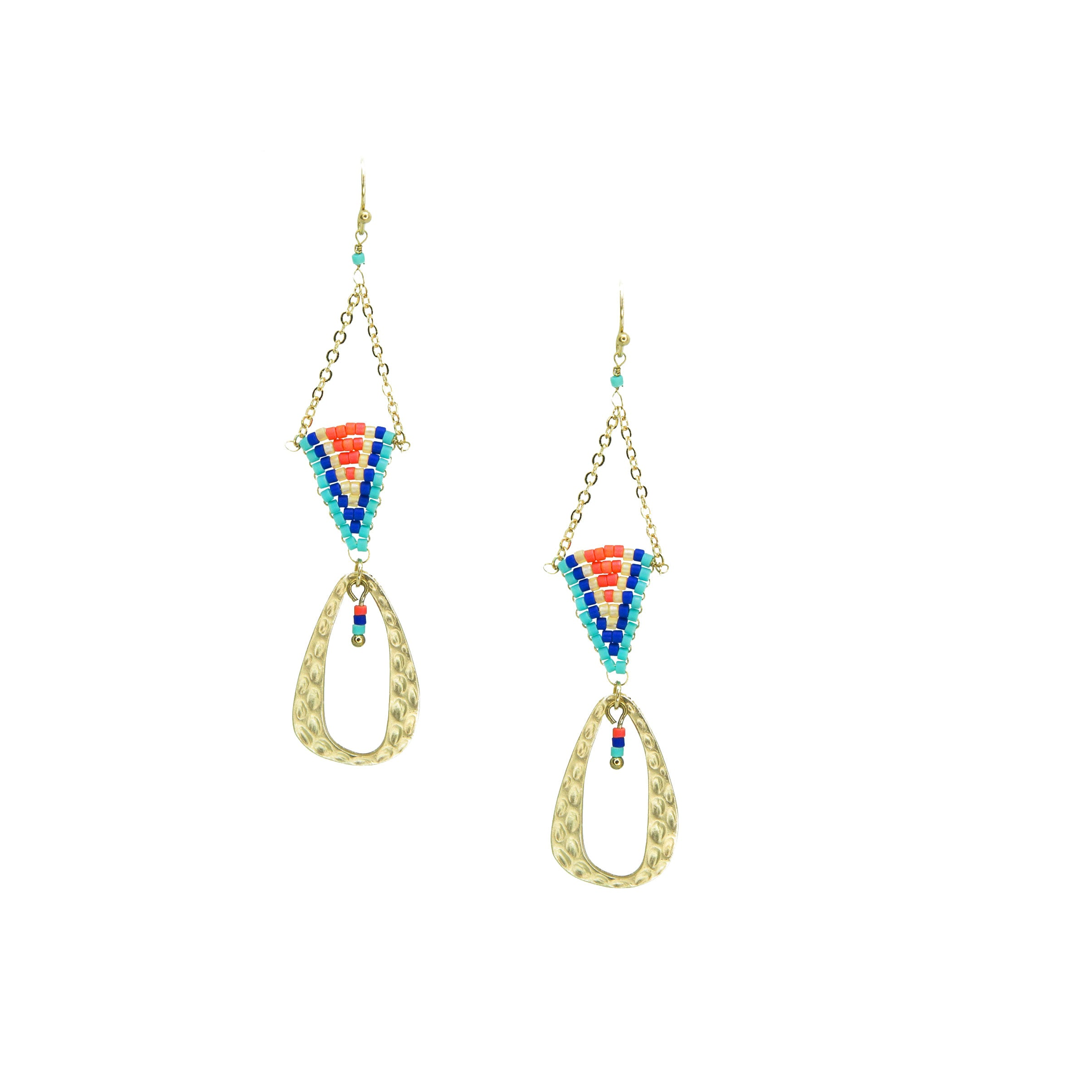 colorful beaded triangle drop earrings