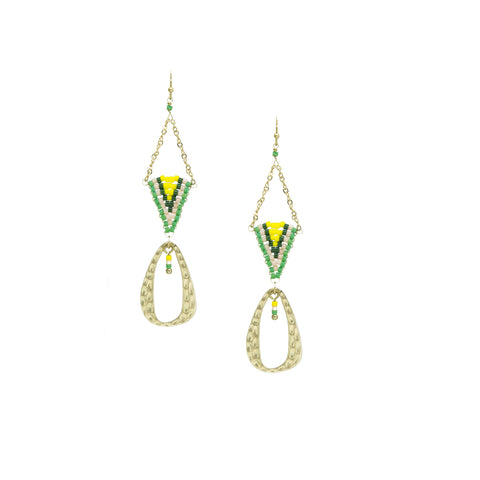 green beaded triangle drop earrings