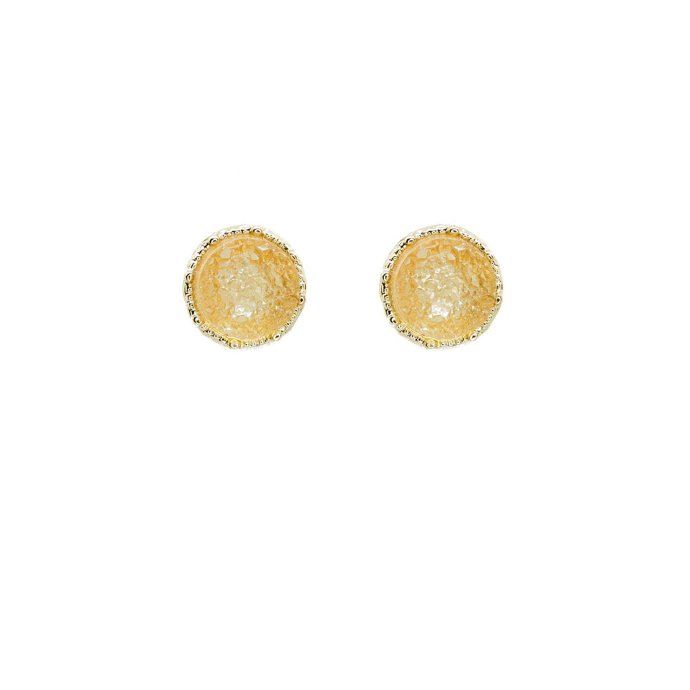 citrine druzy stud earrings