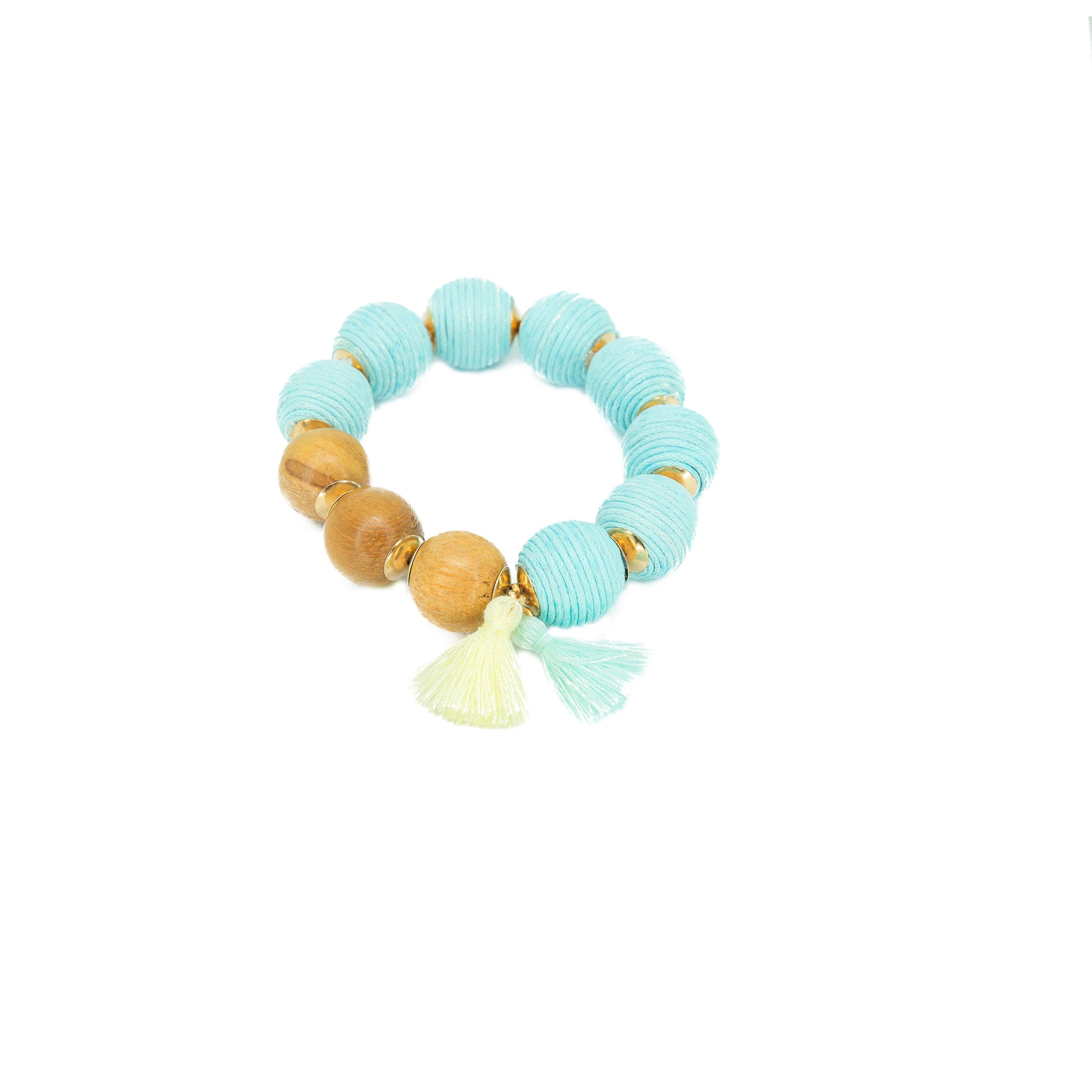 blue big bead stretch bracelet