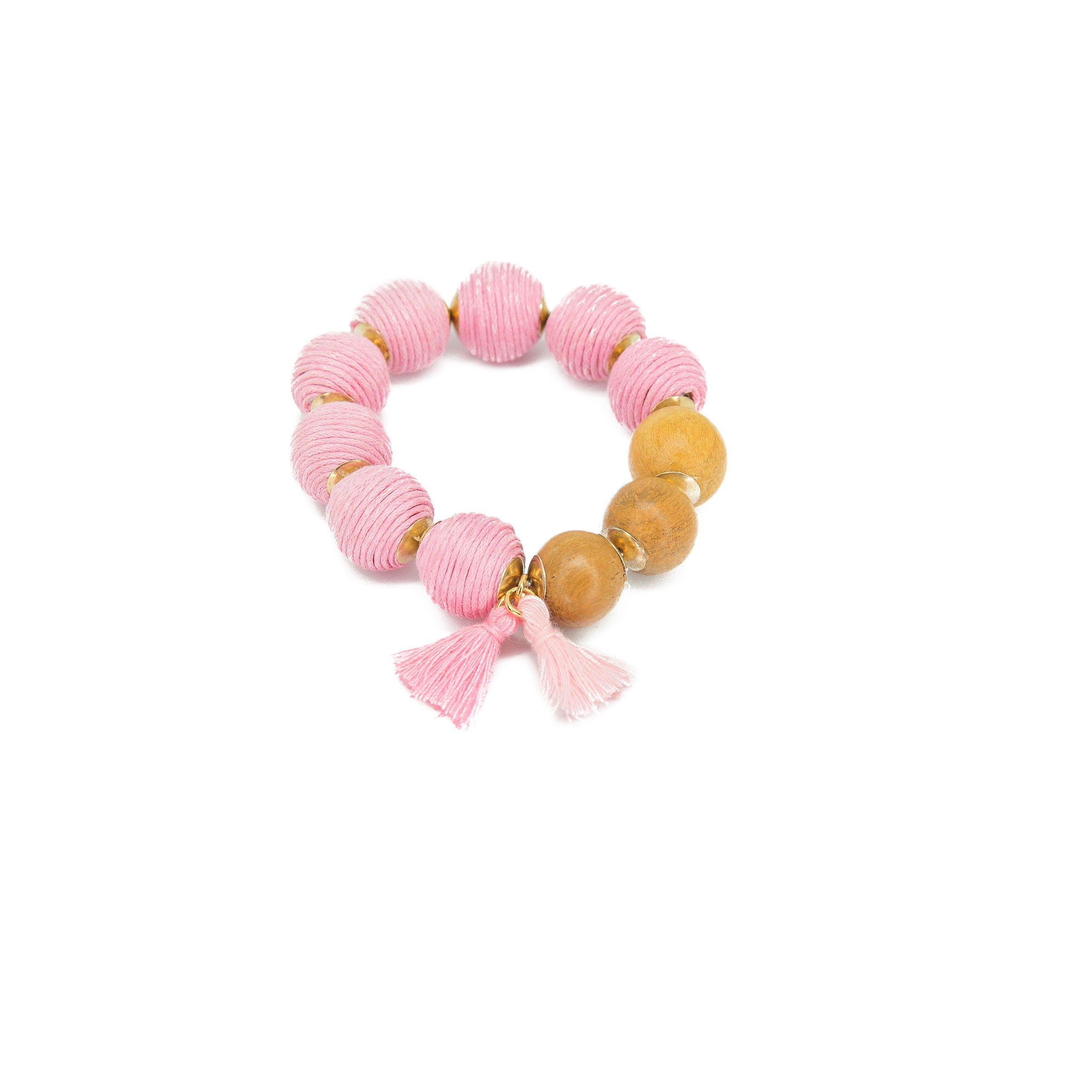 pink big bead stretch bracelet