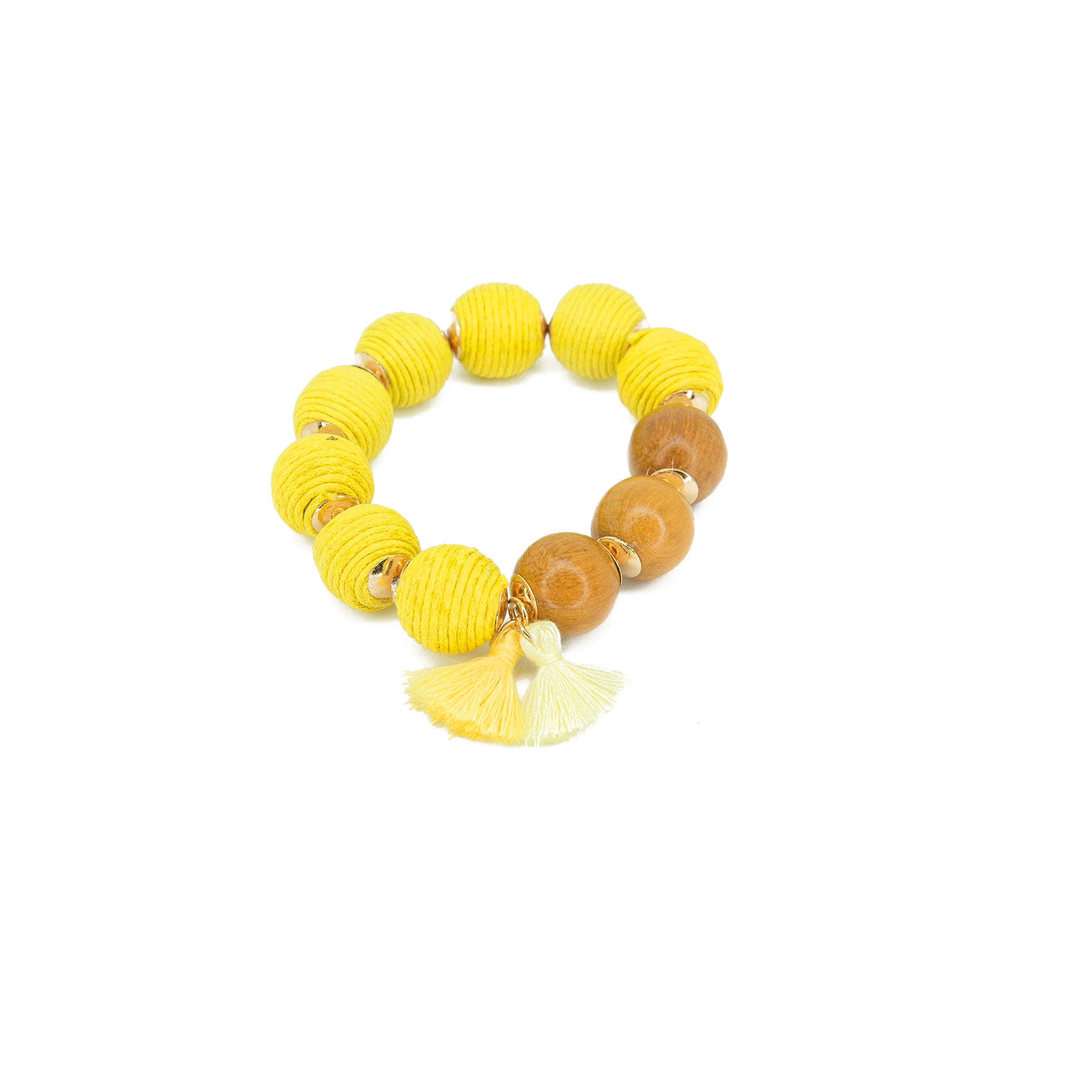 yellow big bead stretch bracelet