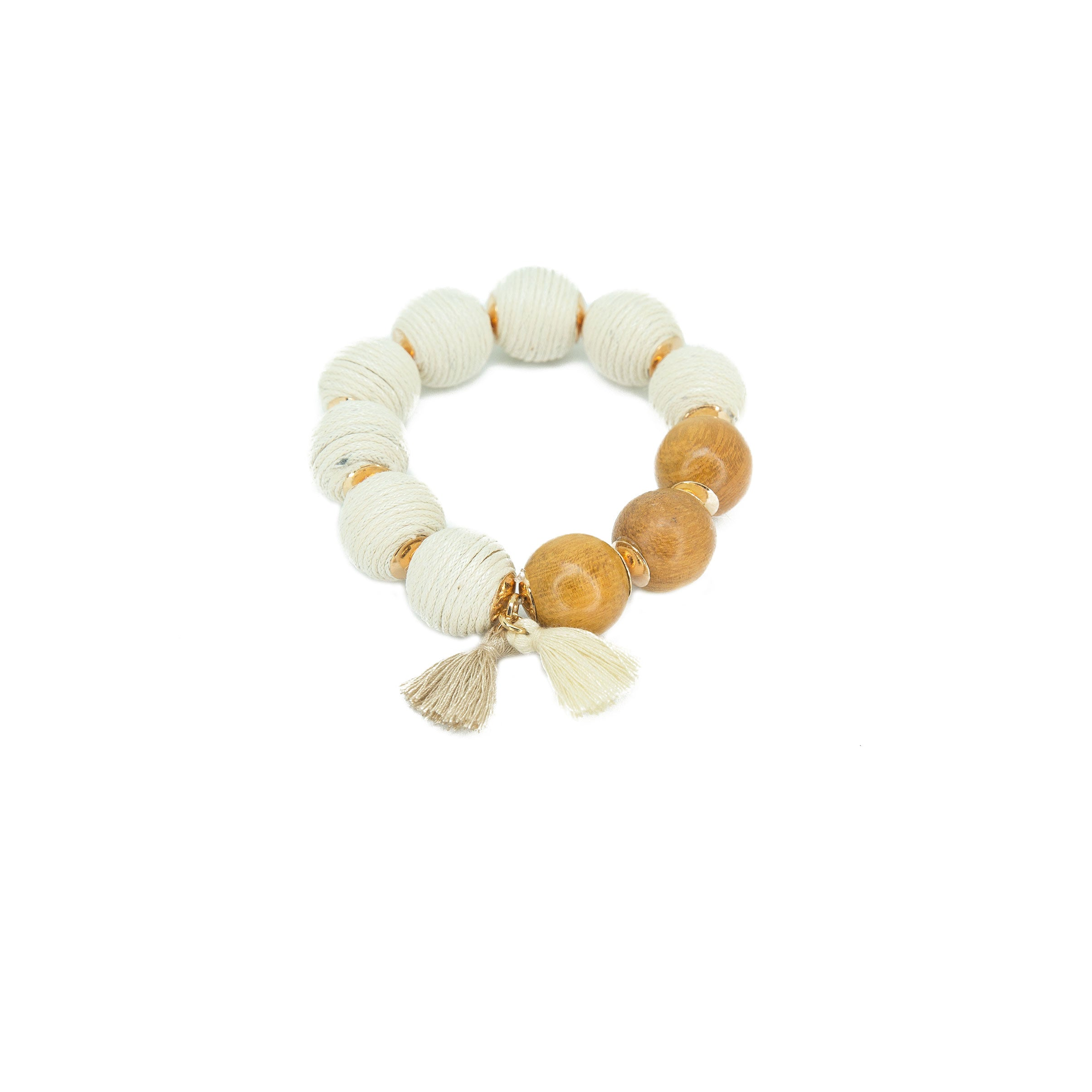 white big bead stretch bracelet