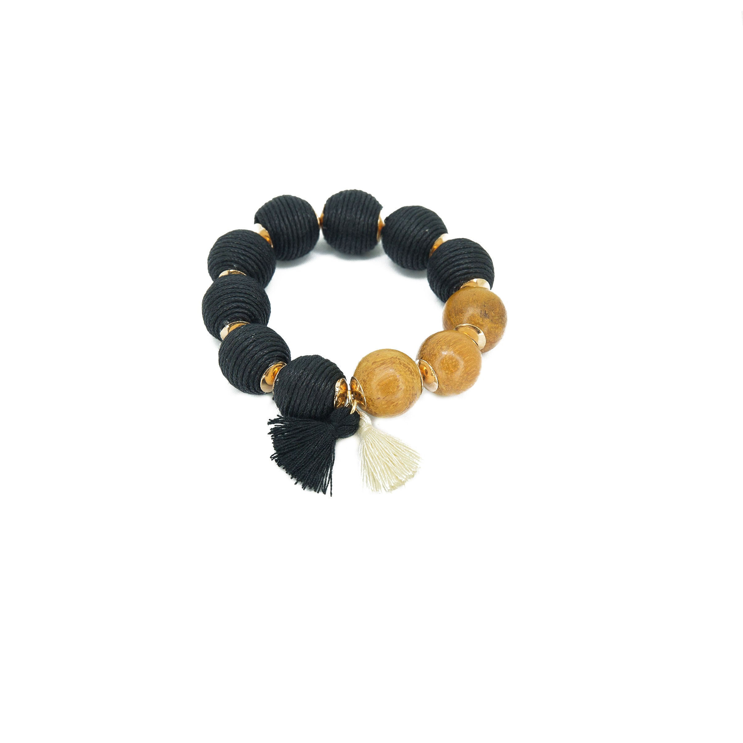 black big bead stretch bracelet