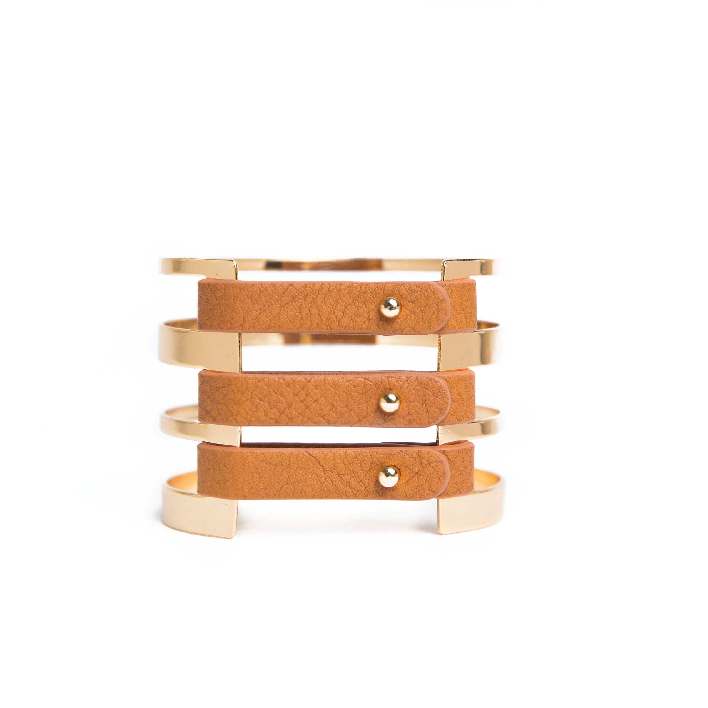 tan barred cuff bracelet