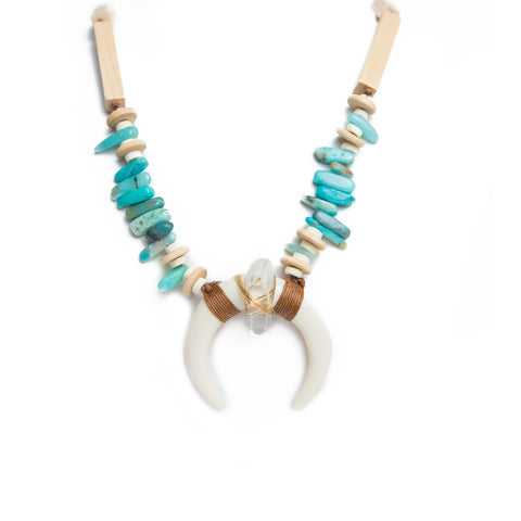 turquoise, quartz and horn tribal style necklace