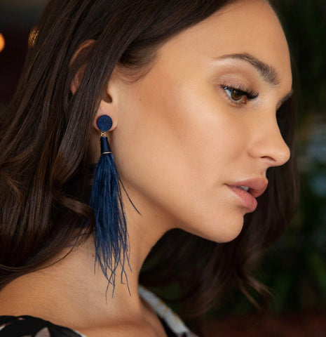 Jenna Peacock Feather Earrings
