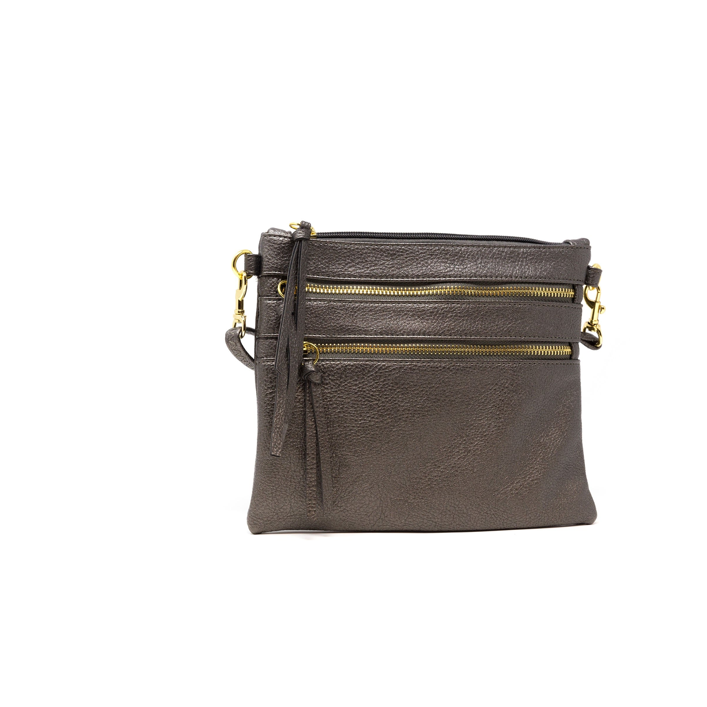 vegan leather pewter crossbody bag