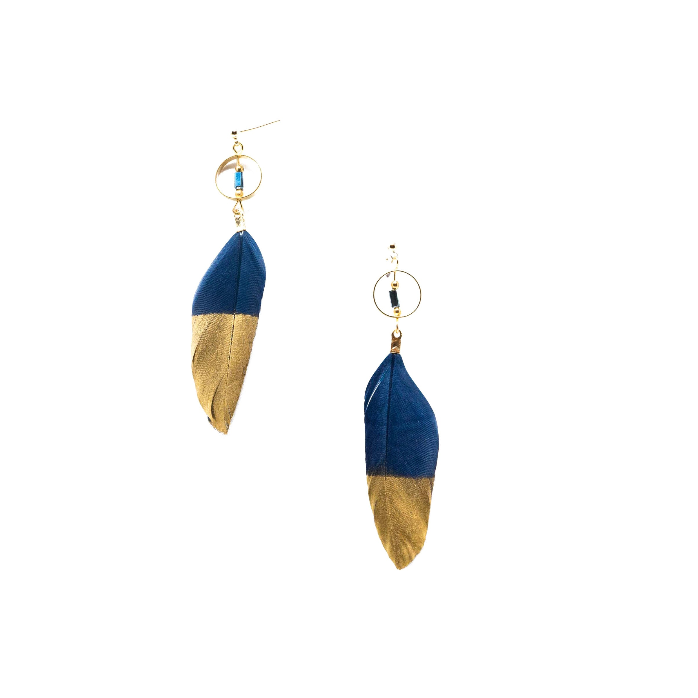Erin Gold Dipped Feather Earrings