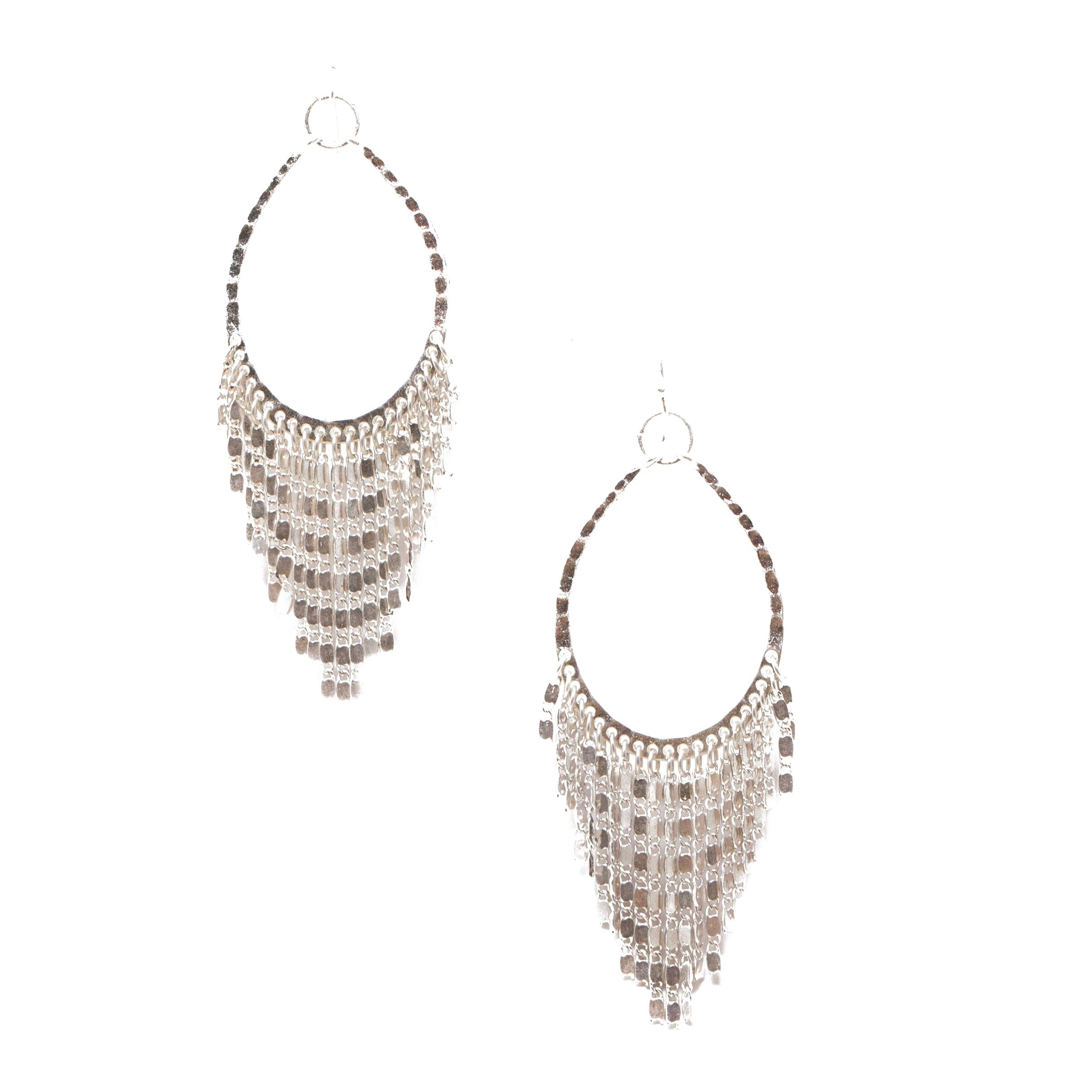 silver chandelier hoop earrings