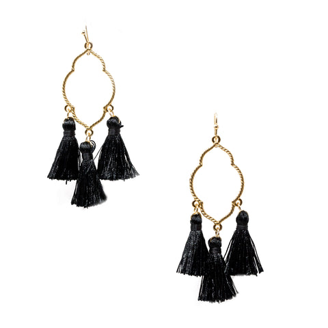 black and gold ornamental tassel earrings